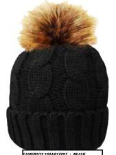 Ladies BLACK 'ROCK JOCK' Thick & Warm Fleece Lined & Detachable Fur Bobble  Hat