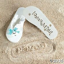 JUST MARRIED FLIP FLOPS SIZE 9/10 Imprinted Bottoms Bride Gift NEW SEALED