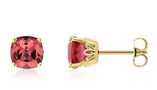 14K Yellow Gold Pink Tourmaline Stud Earrings Cushion Cut Genuine 1.25cttw 5x5mm