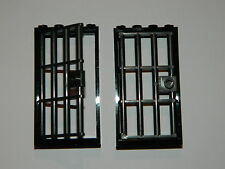 LEGO barred door gate 1x4x6 black dark grey x2 castle prison dungeon jail bars *