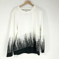 DKNY The Everywhere Sweatshirt XL White Ombre Pullover Long Sleeve Womens New
