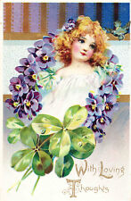 Tuck Postcard, Series 11, Floral Missives, Girl with Violet Wreach Clover, Bird
