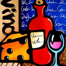 Original Abstract Modern contemporary wine Vino glass Art Painting Fidostudio