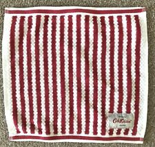 Brand New Cath Kidston Red and White Striped 100% Cotton Face Cloth 30x30cm