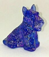 DUKE the SCOTTIE DOG #14 COBALT CARNIVAL - Boyd Collectible Blue Glass Figurine