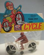"""Old White Plastic 4"""" Toy Motorcycle & Rider w Original Store Pack 1970s Nice!"""