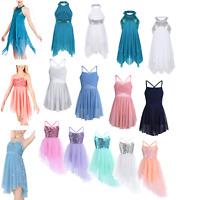 Kids Girls Lyrical Ballet Dance Dress Gym Latin Leotard Tutu Skirt Fairy Costume