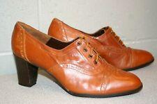 Fits 9-9.5 Brown Leather VTG 70s Lane Bryant Spain WINGTIP High Heel Oxford Shoe