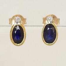 NATURAL SAPPHIRE EARRINGS REAL DIAMONDS 9K GOLD STUDS SEPTEMBER BIRTHSTONE NEW