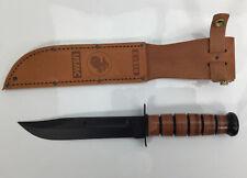 """KA-BAR USMC 7"""" Knife, w/Brown Leather Sheath (1217)"""