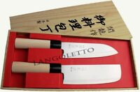 9Set di 2 Coltelli Originali Giapponese SANTOKU e NAKIRI  Lama in Acciaio INOX