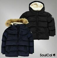 Boys SoulCal Casual Fleece Knitted Cuffs 2 Zip Bubble Jacket Sizes Age 7-13 Yrs