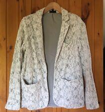 Pretty Topshop Cream Lace Effect Blazer/Jacket/Size 12/Floral Design/Vintage Lk