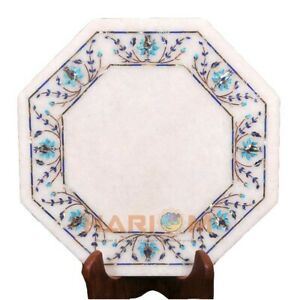 """14"""" White Marble Top Coffee Table Turquoise Floral Precious Inlay Furniture W451"""