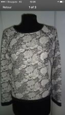 haut Pull zara Noir blouse Noir taille 40 Sweat Gris Fleuri Blanc