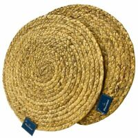 """Round Placemat 14"""" Woven Raffia Excellent For Picnic Garden Beach Set of 4"""
