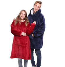 Winter Sherpa With Sleeve Ultra Plush Huggle Hoodie Blanket Warm FLEECE Flannel
