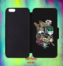 Harley Quinn Joker Suicide Leather Flip Wallet Phone Case For iPhone, Samsung