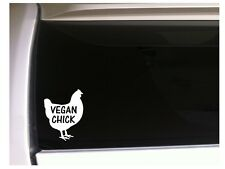 "Vegan Chick farmer sticker vinyl car decal 6"" *P08 farm chicken pet Eggs"