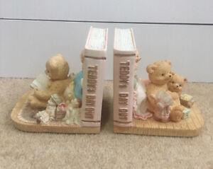"Teddy Bear ""Teddy's Day Out"" Ceramic Book Ends Child's Room Nursery Ornaments"