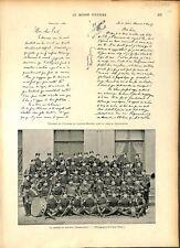 Spécimen écriture capitaine Dreyfus/Musique Régiment Préobrajensky GRAVURE 1897