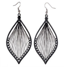 Vintage Woman's Black Thread Earrings Leaf Hook Dangle Jewelry Gift