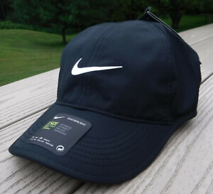 NWT NIKE Dri-Fit Featherlight AeroBill Womens Adj Tennis/Running Hat-OSFM BLACK