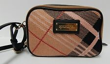 Spartina 449 Pink Linen Plaid Black Leather Crossbody Bag