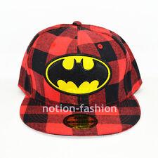 Red lattice Black New Batman hiphop Snapback Adjustable Flat baseball cap hat