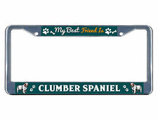 Clumber Spaniel Dog My best friend Chrome Metal License Plate Frame Tag Border