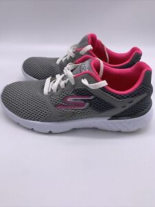 Skechers Go Run 400 Womens Running Shoes 14350 Grey Pink Size 6.5 Low Top