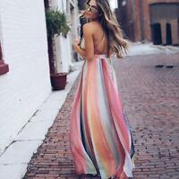 Boho Casual Evening Cocktail Dress Long Beach Party Maxi Sundress Summer Women's