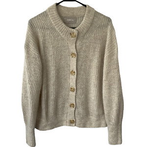 $110 Everlane The Cropped Alpaca Cardigan Button Down Sweater Size Large Cream