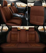 Brown Short Plush Car Seat Covers Winter Thicken Full Surrounded For 5-Seats Car