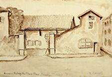 """R.BASSOLI (19.Jhd), Schlichte Hofanlage, """"Cheval Blanc"""", Aq."""