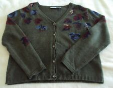 Vintage Capacity Cardigan Wool Sweater Womens Large Ugly Leaves Autumn Fall