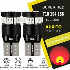 2x AUXITO 194 168 W5W T10 Red Wedge Marker Interior License LED Light Bulb 24K