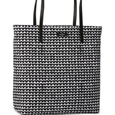 New Kate Spade Heart Canvas Tote Black And White Retail $198