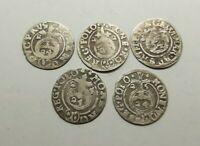Set 5 pcs. European Medieval Era SILVER coins 1/24 thaler 1621-25 years #2676