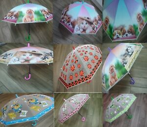 Kids Umbrella Cats & Dogs Clear Dome Brolly Girls Boys Character Design Animal P