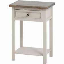 Elegant Classic Soft Grey Fully Assembled Wood 1 Drawer End Lamp Side Table