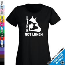 Ladies Life Not Lunch Vegan Tshirt Veggie T shirt - Vegans No Meat Diet Food