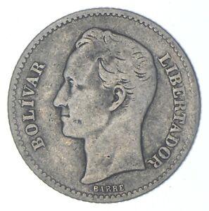 SILVER Roughly Size of Quarter 1921 Venezuela 1 Bolivar World Silver Coin *390