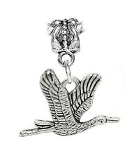 Flying Sandhill Crane Heron Birder Bird Dangle Charm for European Bead Bracelets