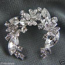 crystals Diamond simulant pin brooch 18k white Gold Gf with Swarovski