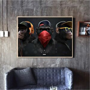 Funny Gangster Monkey Canvas Wall Art Printed Painting Modern Large Decoration