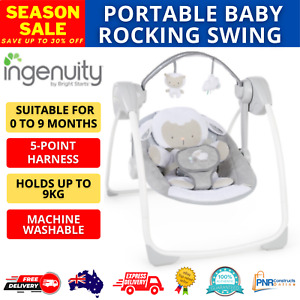 Baby Swing Comfort 2 Go Portable Rocking Entertains Sounds Melodies Cuddle Lamb