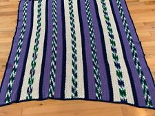 "Boho multicolored striped afghan 56"" x60"", vintage, purple,cream,green, turqoise"