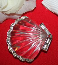 MEANINGUL AND RARE CROWN TRIFARI SIGNED LUCITE CLAMSHELL FUR CLIP-WOW...........