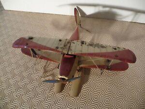 jouet ancien en tole avion hydravion